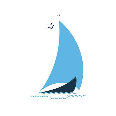 Digital Art - Sailboat In The Sea. Concept For The by Liubov Trapeznykova