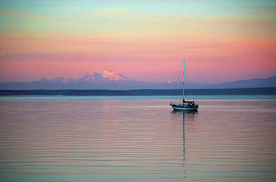 Print featuring the digital art Sailboat In The Sunset. by Timothy Hack