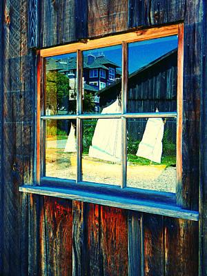 Sailboat In Window 2 Art Print by Laurie Tsemak