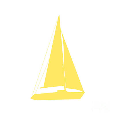 Digital Art - Sailboat In Yellow And White by Jackie Farnsworth