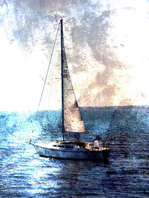 Lake Michigan Digital Art - Sailboat Light W Metal by Anita Burgermeister