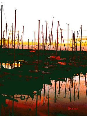 Photograph - Sailboat Masts  In The Sunset by Sadie Reneau