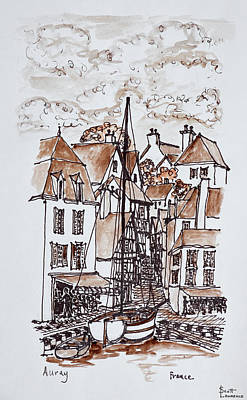 Sailboat Moored In Saint-goustan Port Art Print