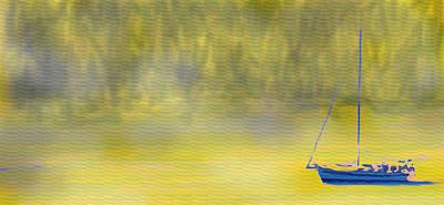 Digital Art - Sailboat On A Yellow Sea by Ian  MacDonald