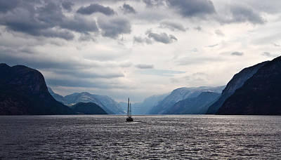 Photograph - Sailboat On Lysefjord In Norway by June Jacobsen
