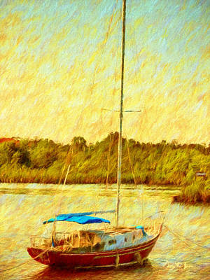 Painting - Boating - Coastal - Sailboat On The Bayou  by Barry Jones
