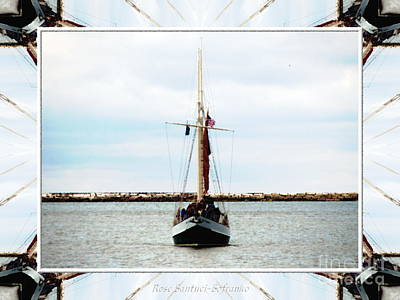 Photograph - Sailboat On The Buffalo River At Lake Erie With Oil Painting Effect by Rose Santuci-Sofranko