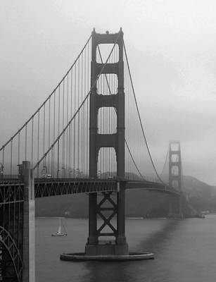Sailboat Passing Under Golden Gate Bridge Art Print by Connie Fox