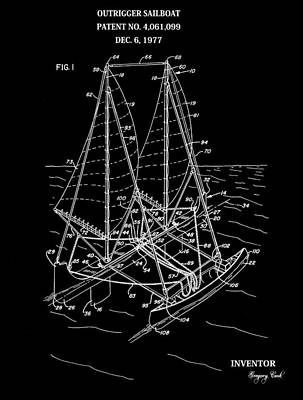 Sailboat Ocean Mixed Media - Sailboat Patent Black And White by Dan Sproul