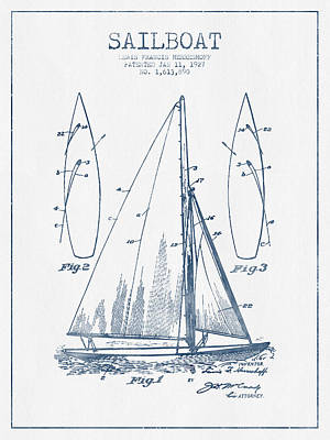 Transportation Digital Art - Sailboat Patent Drawing From 1927  -  Blue Ink by Aged Pixel