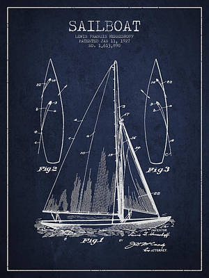 Boats Drawing - Sailboat Patent Drawing From 1927 by Aged Pixel