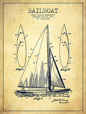 Technical Digital Art - Sailboat Patent Drawing From 1927 - Vintage by Aged Pixel