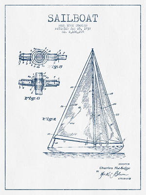 Sailboat Art Drawing - Sailboat Patent Drawing From 1938  -  Blue Ink by Aged Pixel