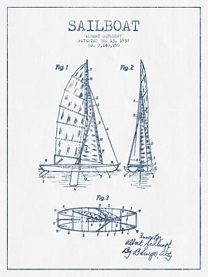 Transportation Digital Art - Sailboat Patent Drawing From 1938  - Blue Ink by Aged Pixel