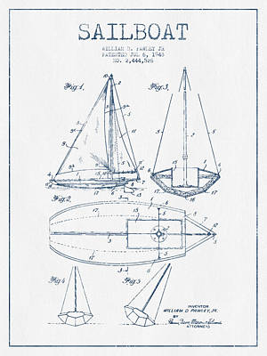 Sailboat Art Drawing - Sailboat Patent Drawing From 1948  -  Blue Ink by Aged Pixel