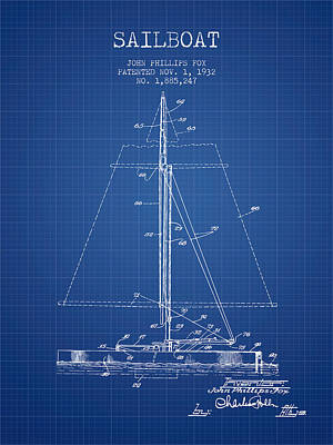 Transportation Digital Art - Sailboat Patent from 1932 - Blueprint by Aged Pixel