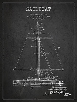 Transportation Digital Art - Sailboat Patent from 1932 - Dark by Aged Pixel