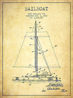 Transportation Digital Art - Sailboat Patent from 1932 - Vintage by Aged Pixel
