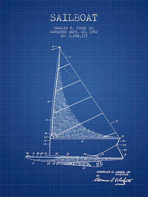 Sailboat Art Drawing - Sailboat Patent From 1962 - Blueprint by Aged Pixel