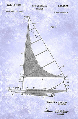 Painting - Sailboat Patent From 1962 by Celestial Images