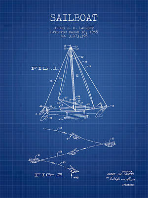 Transportation Digital Art - Sailboat Patent from 1965 - Blueprint by Aged Pixel