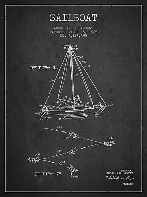 Transportation Digital Art - Sailboat Patent from 1965 - Dark by Aged Pixel