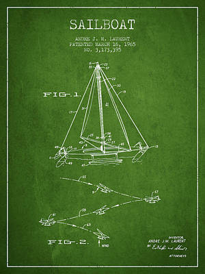 Transportation Digital Art - Sailboat Patent from 1965 - Green by Aged Pixel
