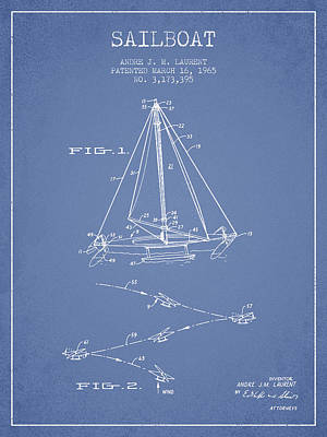 Transportation Digital Art - Sailboat Patent from 1965 - Light Blue by Aged Pixel