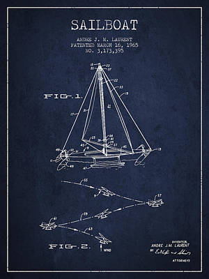 Sailboat Art Drawing - Sailboat Patent From 1965 - Navy Blue by Aged Pixel