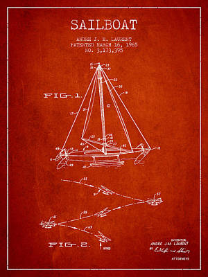 Sailboat Art Drawing - Sailboat Patent From 1965 - Red by Aged Pixel
