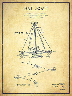 Transportation Digital Art - Sailboat Patent from 1965 - Vintage by Aged Pixel