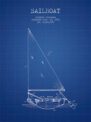 Transportation Digital Art - Sailboat Patent from 1991- Blueprint by Aged Pixel