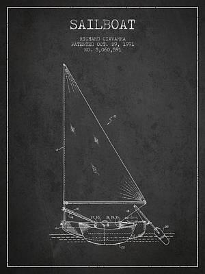 Transportation Digital Art - Sailboat Patent from 1991- Dark by Aged Pixel