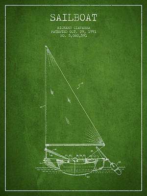 Transportation Digital Art - Sailboat Patent from 1991- Green by Aged Pixel