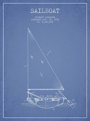 Sailboat Art Drawing - Sailboat Patent From 1991- Light Blue by Aged Pixel