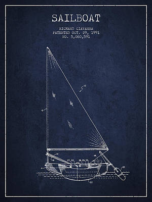 Technical Photograph - Sailboat Patent From 1991- Navy Blue by Aged Pixel