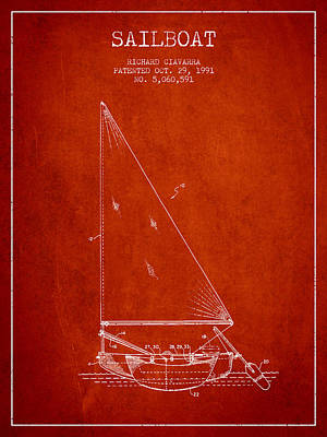 Transportation Digital Art - Sailboat Patent from 1991- Red by Aged Pixel