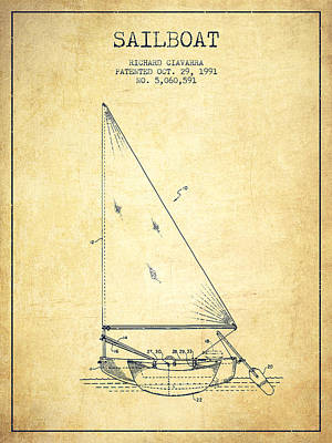 Transportation Digital Art - Sailboat Patent from 1991- Vintage by Aged Pixel
