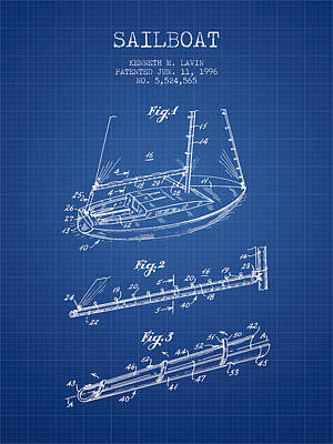Transportation Digital Art - Sailboat Patent from 1996 - Blueprint by Aged Pixel