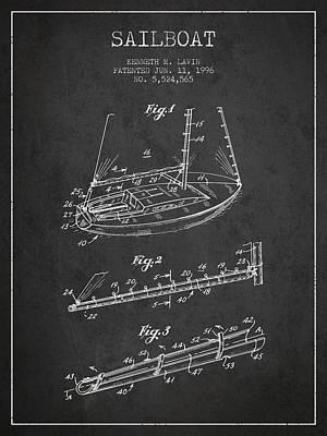 Transportation Digital Art - Sailboat Patent from 1996 - Dark by Aged Pixel