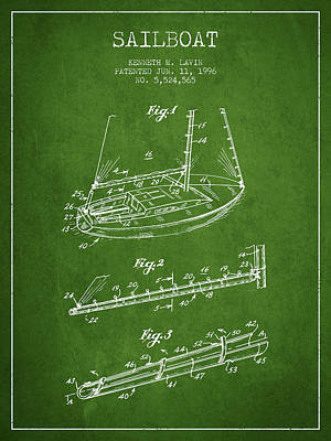 Transportation Digital Art - Sailboat Patent from 1996 - Green by Aged Pixel