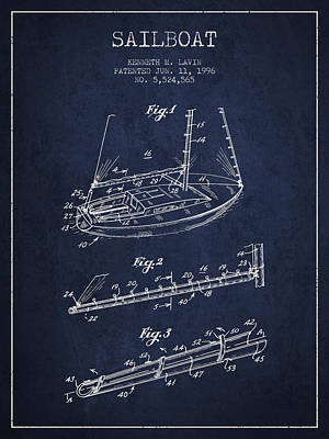 Technical Photograph - Sailboat Patent From 1996 - Navy Blue by Aged Pixel
