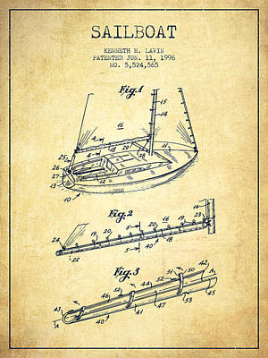 Transportation Digital Art - Sailboat Patent from 1996 - Vintage by Aged Pixel