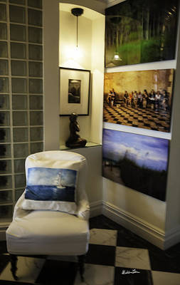 Sailboat Pillow On Chair And Other Artworks By Madeline Art Print by Madeline Ellis