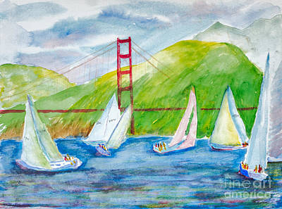 Painting - Sailboat Race At The Golden Gate by Walt Brodis