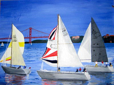 Painting - Sailboat Race In Lisbon by Artistic Indian Nurse