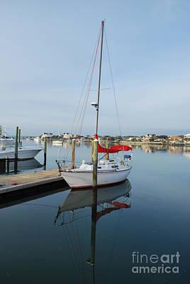 Photograph - Sailboat Reflection At Banks Channel by Bob Sample