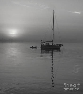 Photograph - Sailboat Reflection In Black And White by Bob Sample