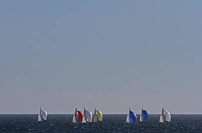 Photograph - Sailboat Regatta Off The Coast In Newport Rode Island by Juergen Roth