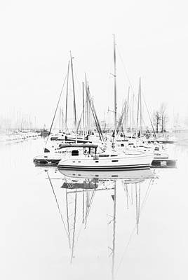Photograph - Sailboat Row  B/w Hi-key by Greg Jackson